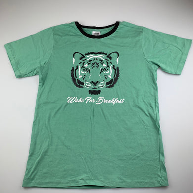 Boys Bauhaus, green cotton pyjama t-shirt / top, tiger, EUC, size 14