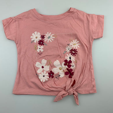 Girls Anko, pink cotton floral tie front top, GUC, size 1