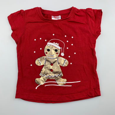 Girls B&L, red cotton Christmas t-shirt / top, gingerbread, EUC, size 0