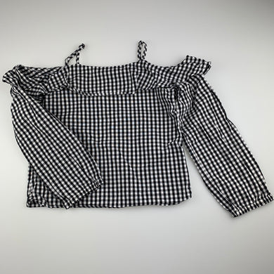 Girls Bardot Junior, black & white check cotton long sleeve top, GUC, size 6