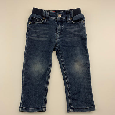 Boys Sprout, stretchy denim pants, elasticated, Inside leg: 27cm, FUC, size 1