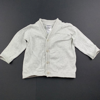 Unisex Anko Baby, grey knit cardigan / sweater, GUC, size 000
