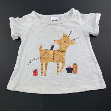 Girls Anko Baby, cotton Christmas t-shirt / top, reideer, GUC, size 000
