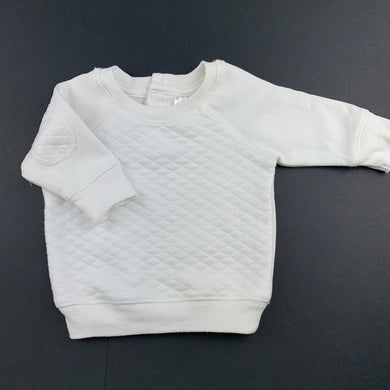 Unisex Baby Berry, white fleece lined sweater / jumper, EUC, size 0000