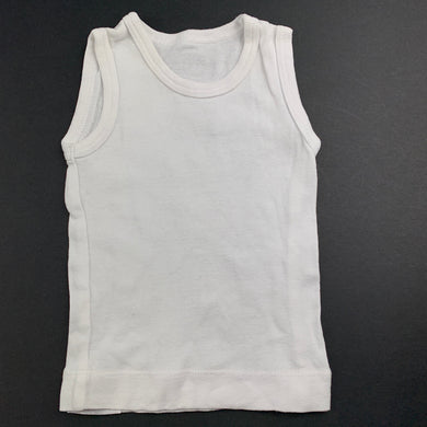 Unisex 4 Baby, white cotton singlet top, GUC, size 000
