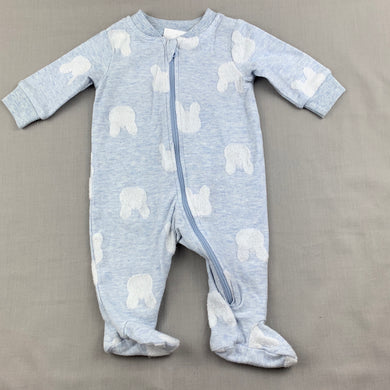 Unisex Anko Baby, soft feel zip coverall, rabbits, EUC, size 0000