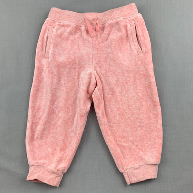 Girls Country Road, pink velour track pants, elasticated, GUC, size 1