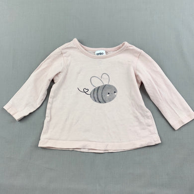 Girls Anko Baby, pale pink cotton top, bee, GUC, size 00