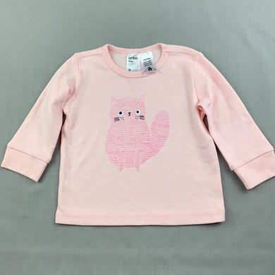 Girls Anko Baby, pink cotton long sleeve top, cat, EUC, size 0