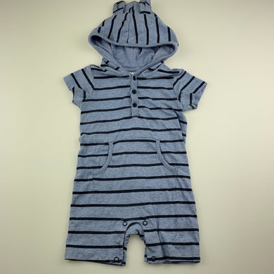 Boys Anko, blue stripe hooded romper, GUC, size 0