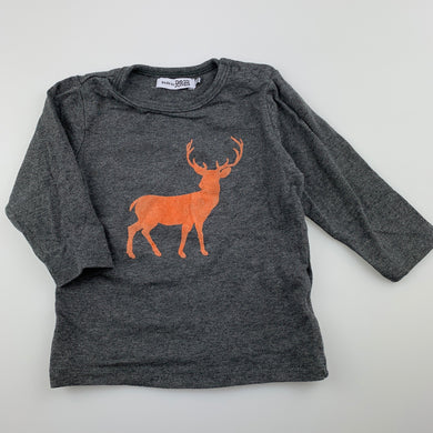 Unisex Baby by DJs, grey stretchy long sleeve top, stag, GUC, size 0
