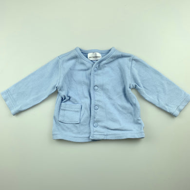 Unisex Baby Wonder, blue cotton long sleeve top, GUC, size 0000
