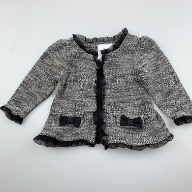 Girls Baby Baby, black & white knit lightweight cardigan top, GUC, size 00