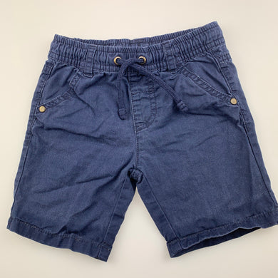 Boys Sprout, blue cotton shorts, elasticated, wash faded, FUC, size 1