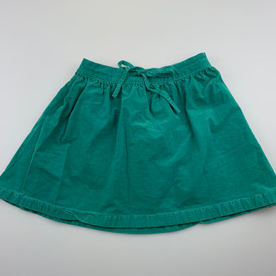 Girls Carter's, green stretch cotton corduroy skirt, elasticated, GUC, size 7