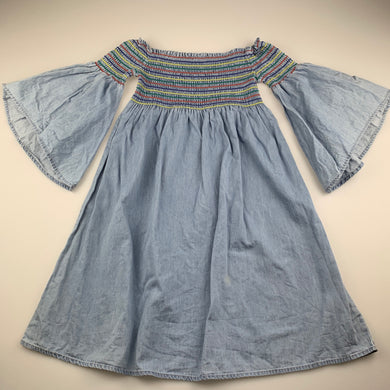 Girls Seed, chambray cotton off-shoulder dress, light mark on front, FUC, size 10