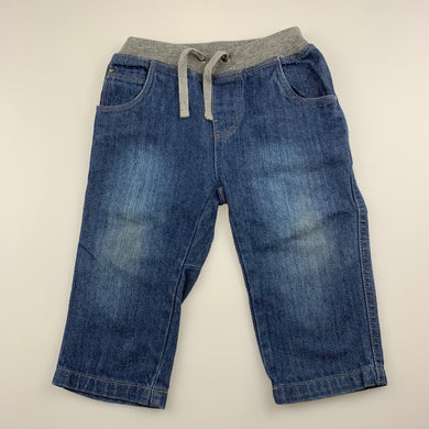 Boys Bebe by Minihaha, blue denim pants, elasticated, GUC, size 1