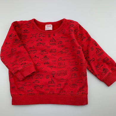 Boys Sprout, red sweater / jumper, trucks, FUC, size 1