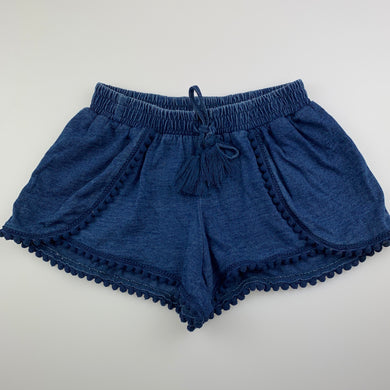 Girls Seed, blue cotton shorts, elasticated, pom pom trim, EUC, size 4-5