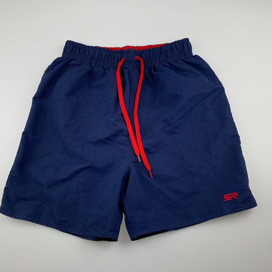 Boys Shock Resistant, navy lightweight board shorts, elasticated, EUC, size 16