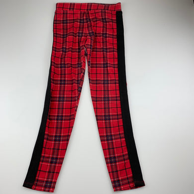 Girls H&M, red tartan stretchy leggings, Inside leg: 59cm, GUC, size 11