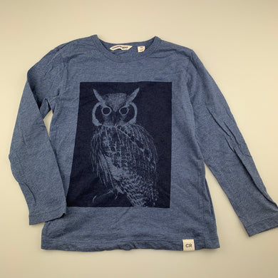 Boys Country Road, blue cotton long sleeve top, owl, GUC, size 5