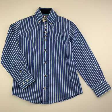 Boys 7 Camicie, blue stripe cotton long sleeve shirt, light marks back right, FUC, size 3-4