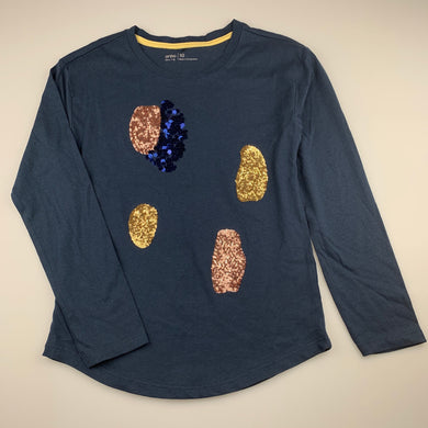 Girls Anko, dark blue cotton long sleeve top, sequins, EUC, size 10