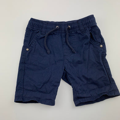 Boys Sprout, navy cotton twill shorts, elasticated, GUC, size 1