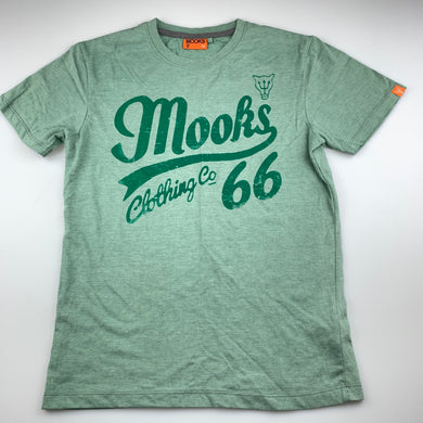 Boys Mooks, green soft feel t-shirt / top, EUC, size 14
