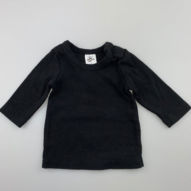 Unisex Baby Berry, black ribbed long sleeve top, GUC, size 00