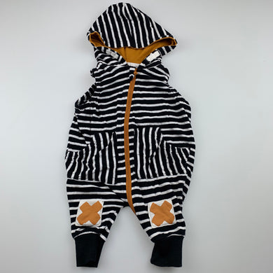 Boys Baby Baby, striped cotton zip romper, GUC, size 0000