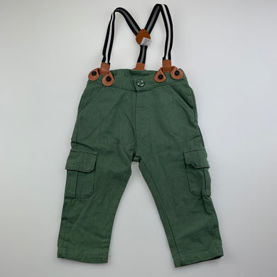 Boys Baby Baby, khaki cotton pants, elasticated, braces, EUC, size 00