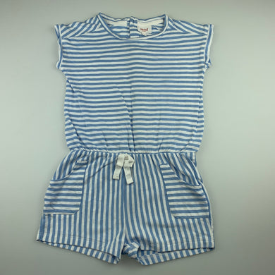 Girls Seed, blue & white stripe cotton playsuit, GUC, size 4-5