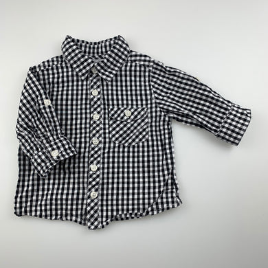 Boys Baby by DJs, checked cotton long sleeve shirt, GUC, size 00