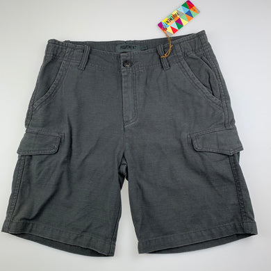 Boys Pavement, grey thick cotton cargo shorts, adjustable, NEW, size 14