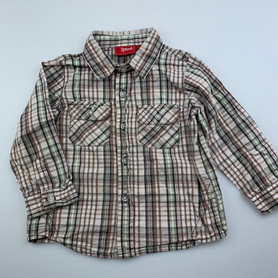 Boys Sprout, checked lightweight cotton long sleeve shirt, EUC, size 1