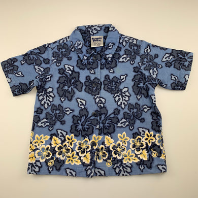 Boys Pumpkin Patch, blue Hawaiian style cotton shirt, light mark below left collar, FUC, size 2