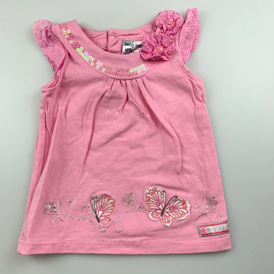 Girls Baby Baby, pink stretchy top, butterflies, GUC, size 00