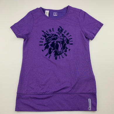 Girls Decathlon, purple t-shirt / top, wild cat, EUC, size 12