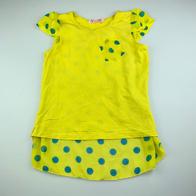 Girls Fei Xiang Tian Shi, bright yellow top, sheer back, GUC, size 12