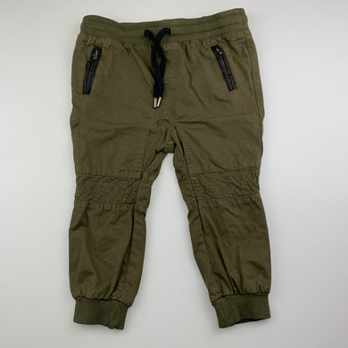 Unisex Bardot Junior, khaki cotton casual pants, elasticated, EUC, size 2