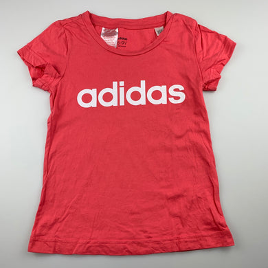 Girls Adidas, pink cotton t-shirt / top, EUC, size 8-9