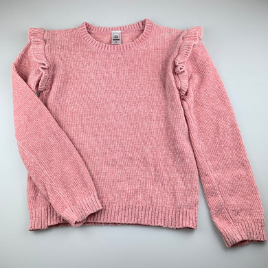 Girls Clothing & Co, pink chenille knitted sweater / jumper, EUC, size 14