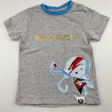 Boys Sprout, grey t-shirt / top, octopus, GUC, size 1
