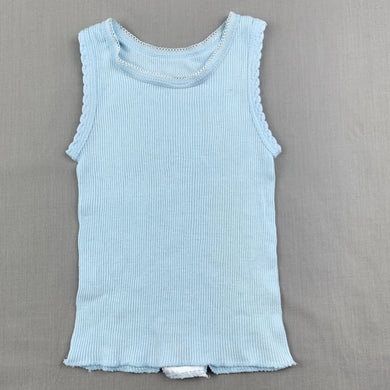 Unisex 4 Baby, blue ribbed cotton singlet top, FUC, size 0000