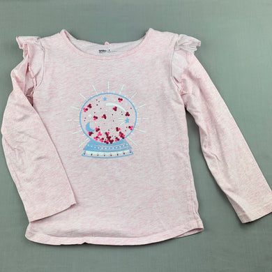 Girls Anko, pink cotton long sleeve top, fairy wings, GUC, size 7