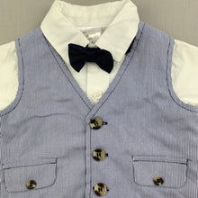 Load image into Gallery viewer, Boys Baby Baby, cotton shirt, waistcoat & bow tie set, NEVER WORN, EUC, size 00