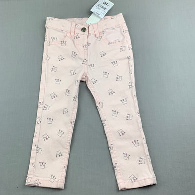 Girls Anko, pink stretch cotton pants, adjustable, Inside leg: 29cm, NEW, size 1