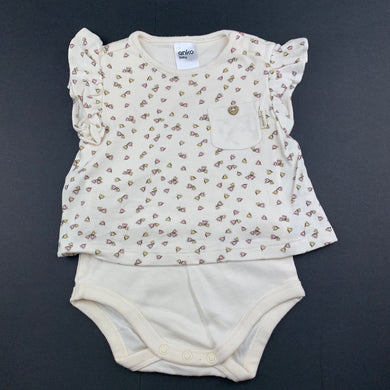 Girls Anko Baby, soft feel organic cotton romper, EUC, size 00